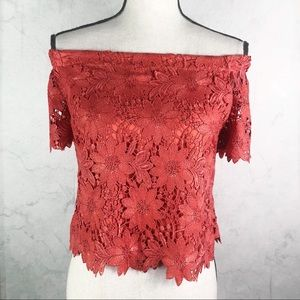 [WHBM] Coral Off the Shoulder Top